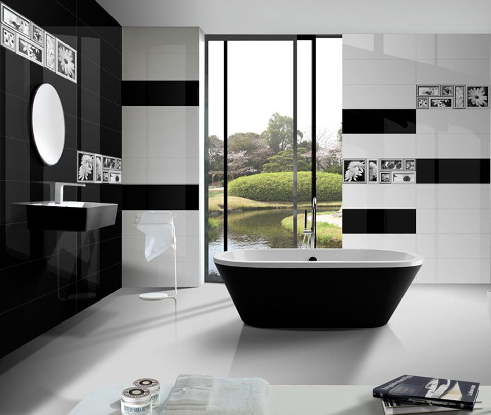 black and white tiles with metallic accents - White Tile Bathroom Black