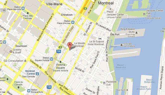 Intercontinental Hotel Montreal Map