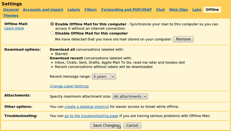 "Make sure ""Enable Offline Mail for this computer"" is selected"