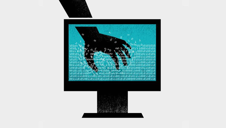 An illustration of a hand reaching into the code on a computer monitor.