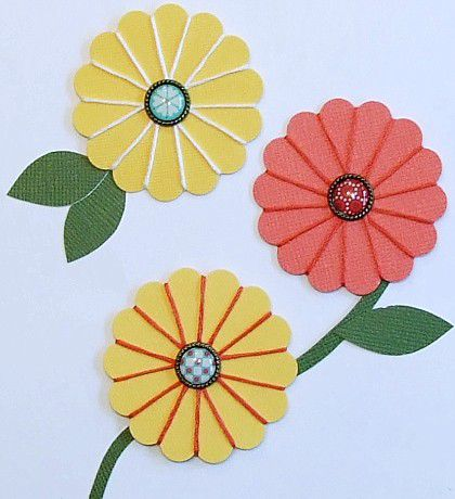 How to make flowers for scrapbooking and cards flowers made from wrapping floss around a scallop punch rebecca ludens mightylinksfo