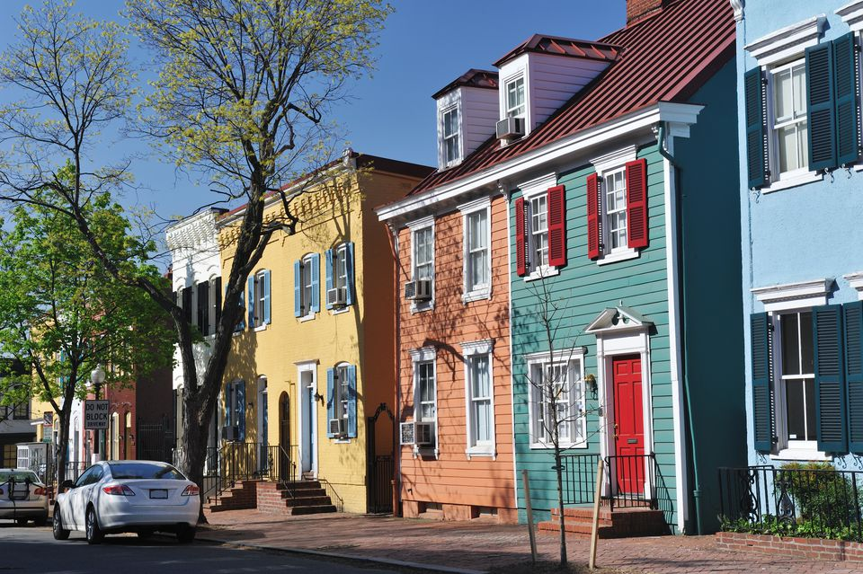 Colorful Historic Row Houses in Georgetown