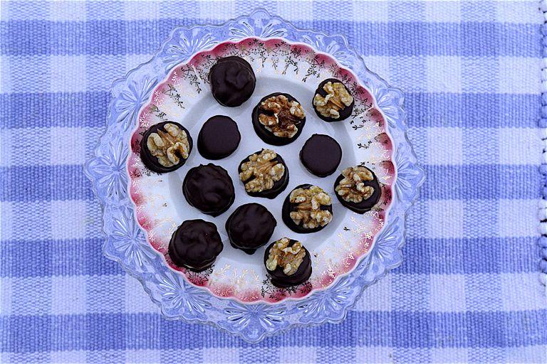 chocolate covered banana and walnut bites
