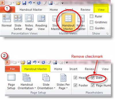 Edit Handouts Master to remove date on PowerPoint printouts