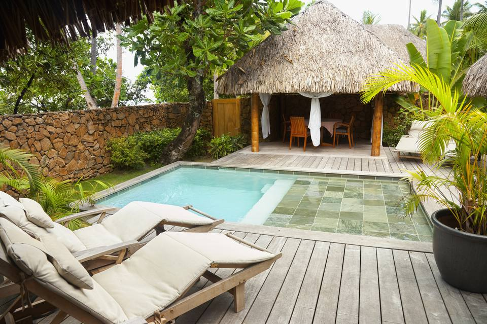 A private plunge pool at a resort hotel.
