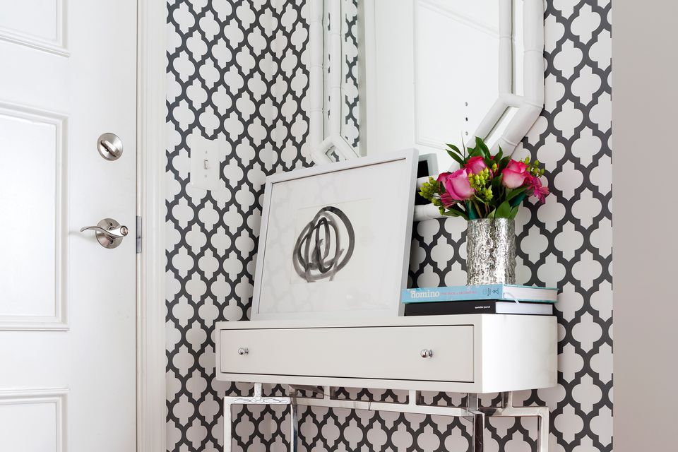 furniture for small entryway. Black-White-Small-Entryway-The-Spruce Furniture For Small Entryway
