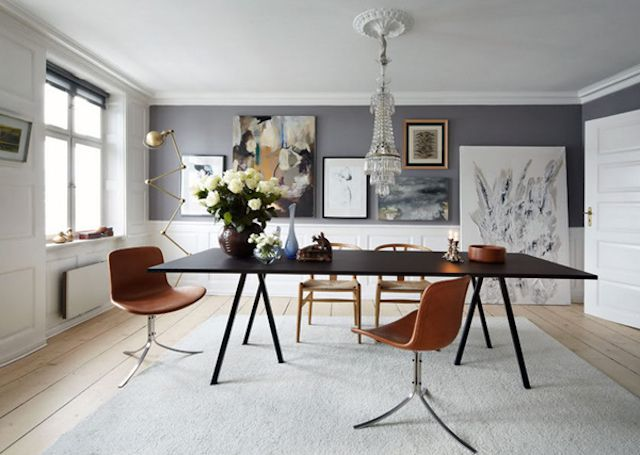 Light Gray Dining Room With Brown Furnishings