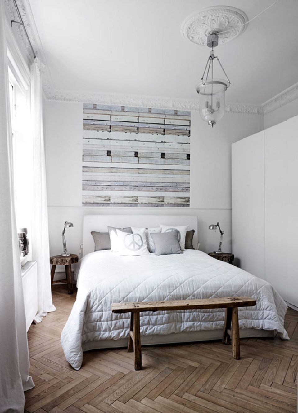 Scandinavian Bedrooms and Distressed Wood