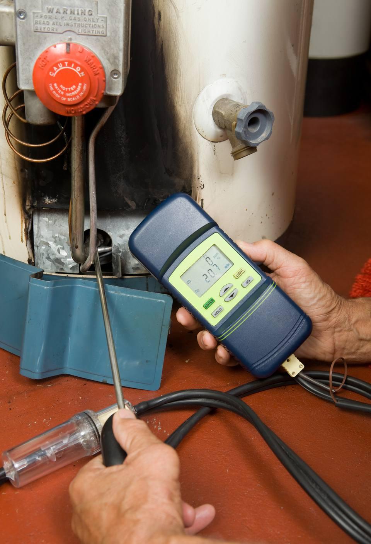 Repairman Checks Carbon Monoxide Level on Gas Water Heater Burne