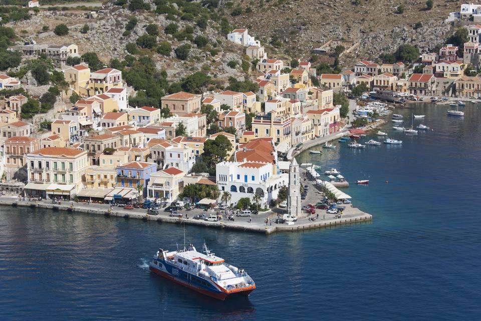 Car ferry leaving port, Gialos, Symi, Greece