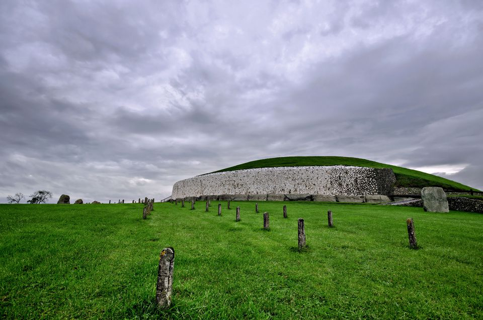 Ancient megalithic passage tomb and burial mound, County Meath, Republic of Ireland, Europe.