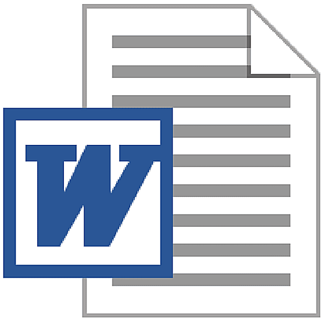 Screenshot of the DOC file icon used with Microsoft Word