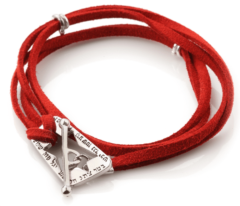 Ana Bekoach: Silver and Red Leather Kabbalah Bracelet