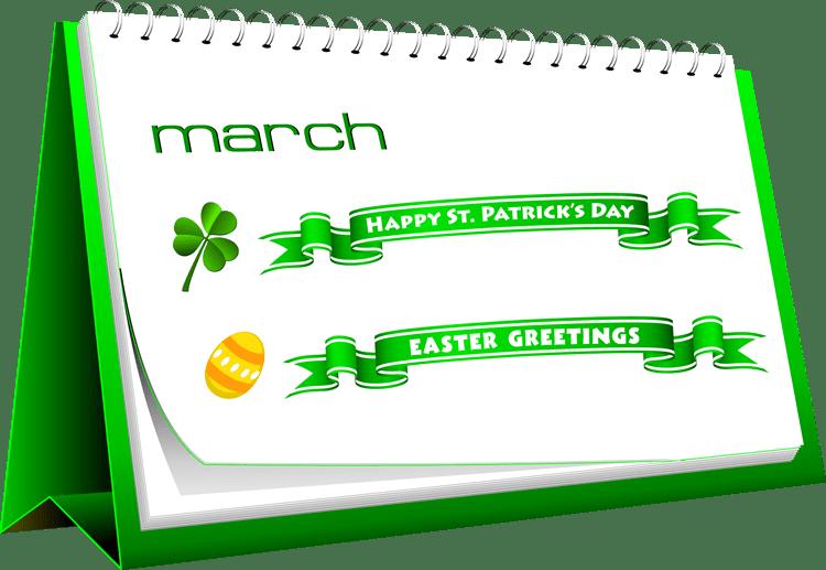 Clip Art of A March Desk Calendar