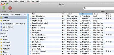 senuti, Transfer Music from iPod to Computer program