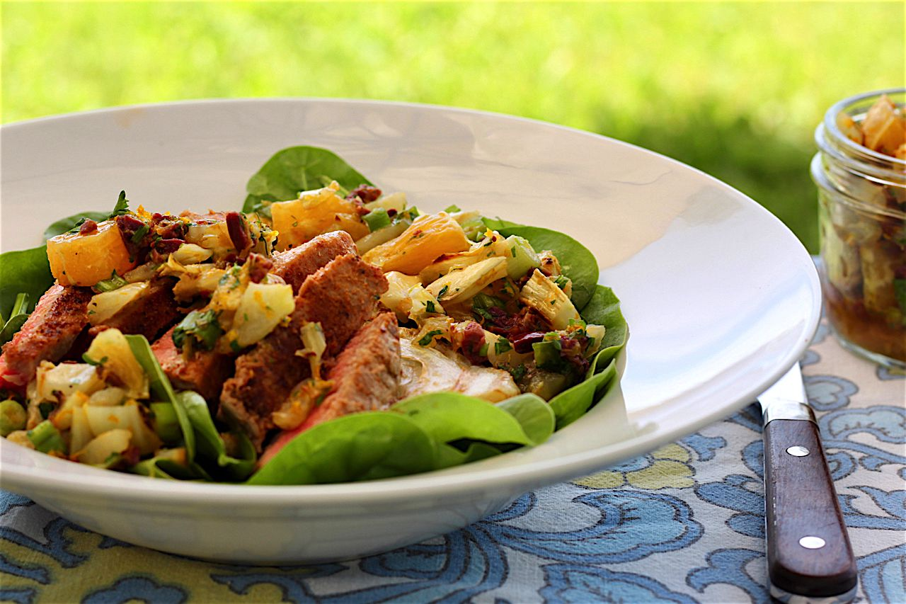 Seared tuna fish salad with roasted fennel and orange for Tuna fish salad recipe