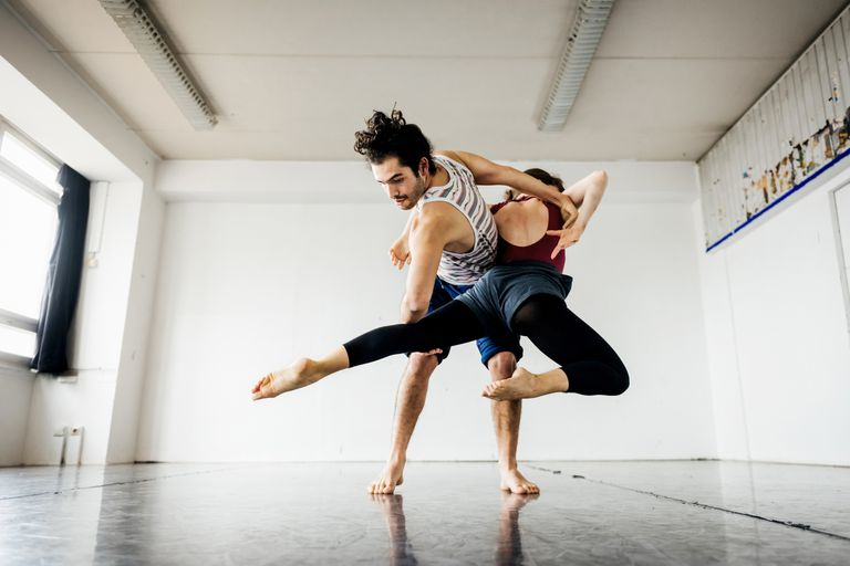 Two dancers rehearsing