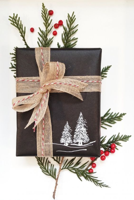 Chalk board wrapping paper with tree design