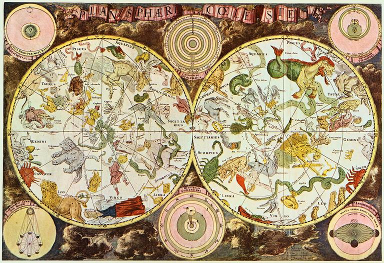 cartografía, constelaciones, astronomía, estrellas