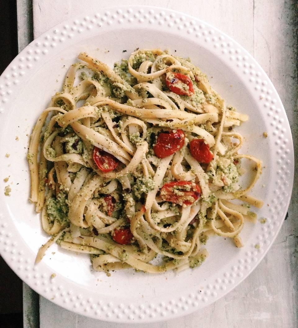 Pasta with Edamame, Mint and Basil Pesto