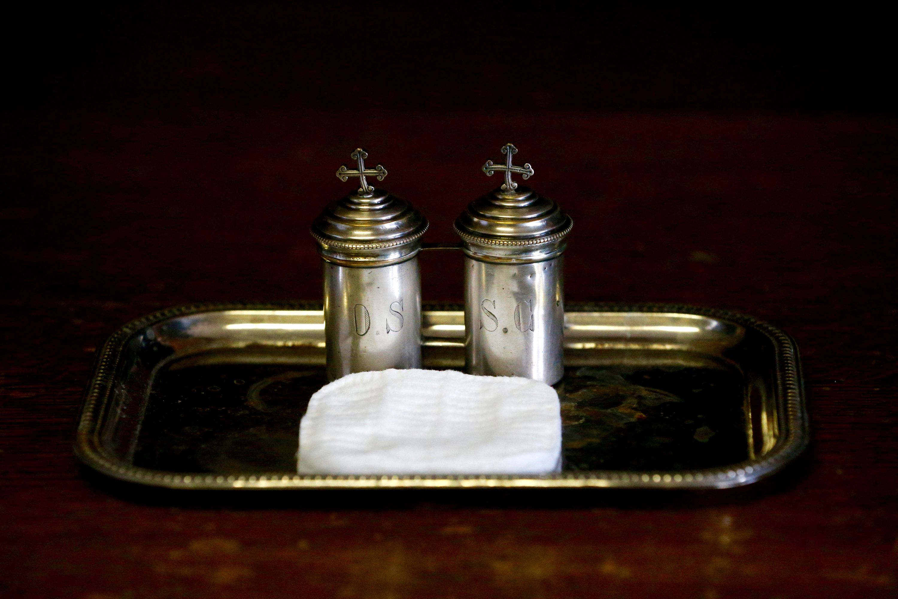 The sacrament of baptism in the catholic church containers of chrism biocorpaavc