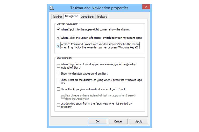 Screenshot of the Taskbar and Navigation Properties window in Windows 8