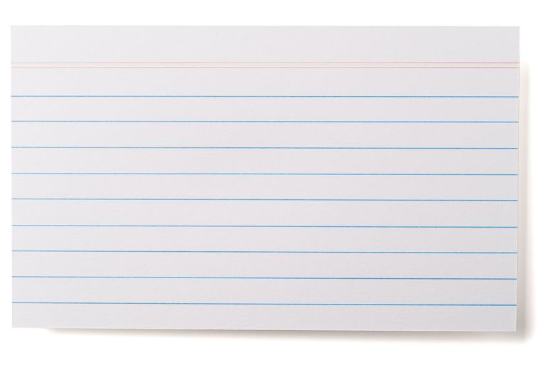 Index cards are great for flash cards. Mixing up flash cards helps you memorize terms and formulas.
