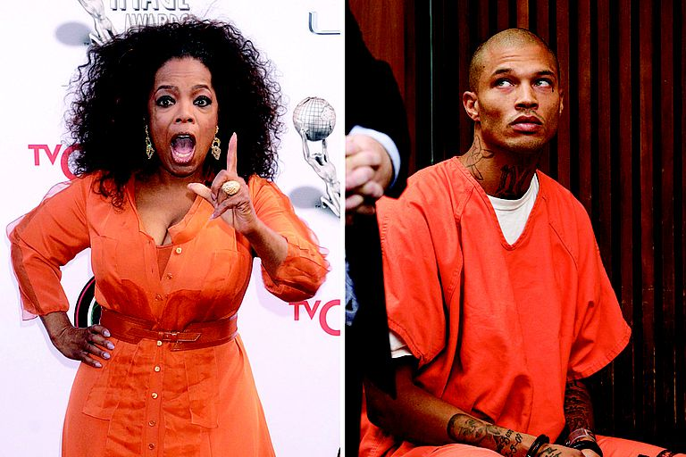 Oprah (L) and Jeremy Meeks