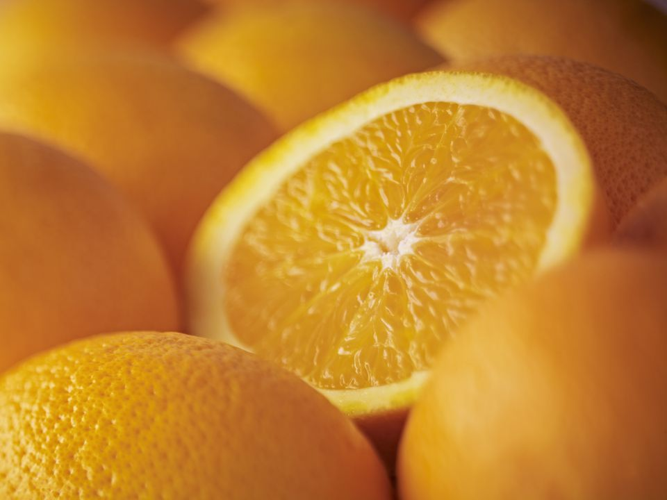 Extreme close up of sliced Salustiana orange