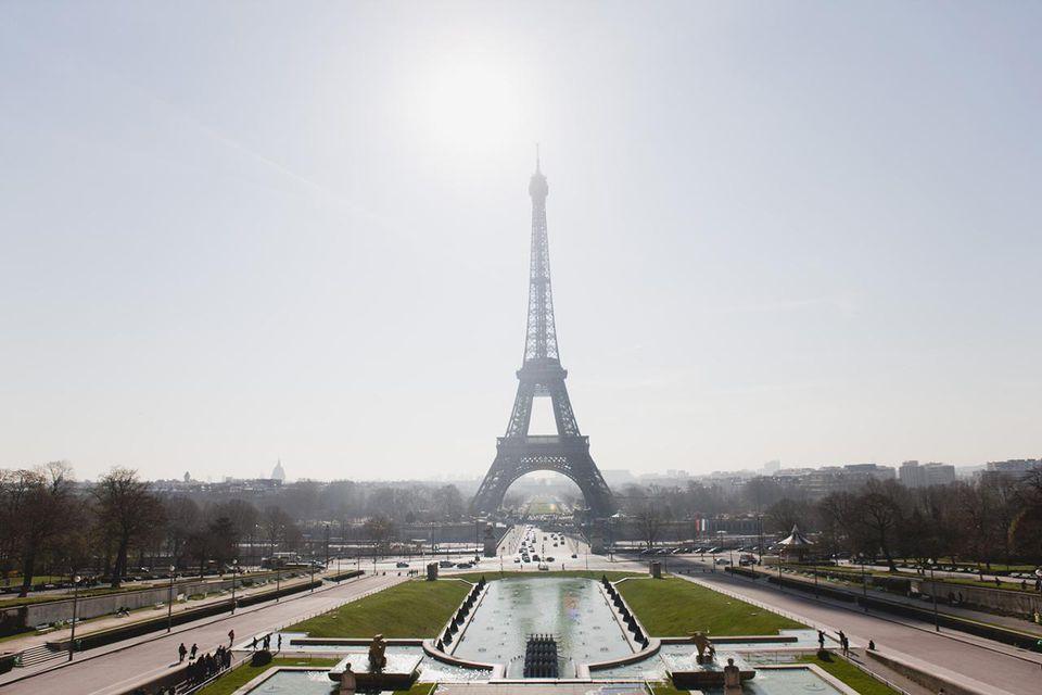 Eiffel Tower viewed from Champ de Mars, Paris, France