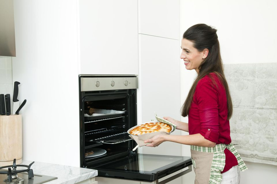 Woman, homemade, cake, oven, kitchen