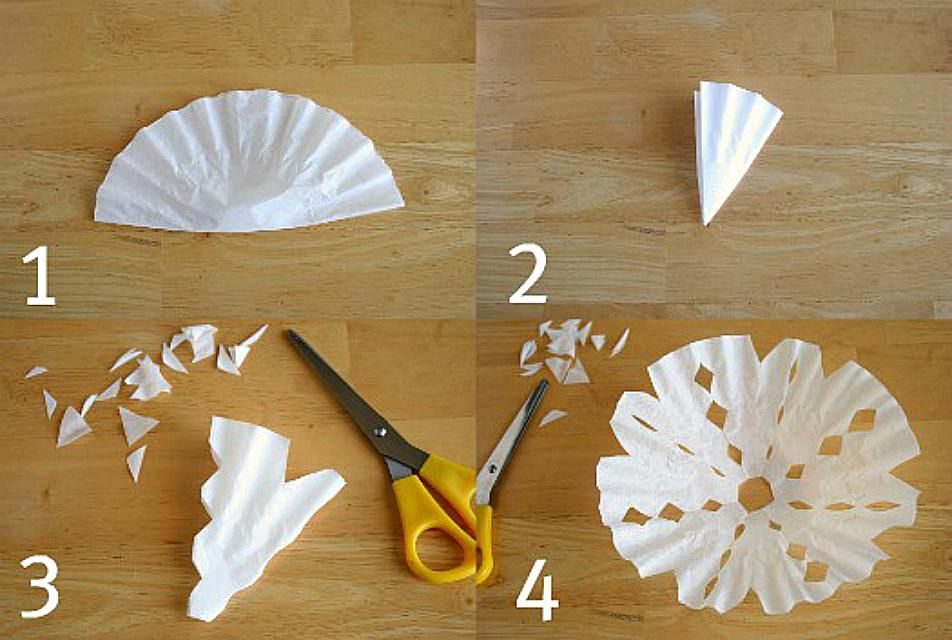 How to Make Coffee Filter Snowflakes