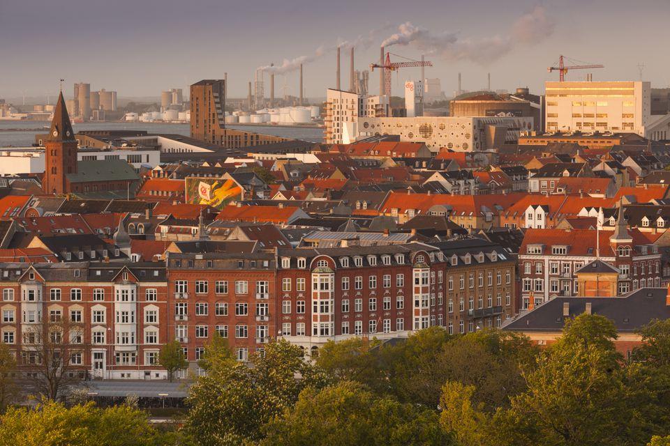 Elevated cityscape, Aalborg, Jutland, Denmark