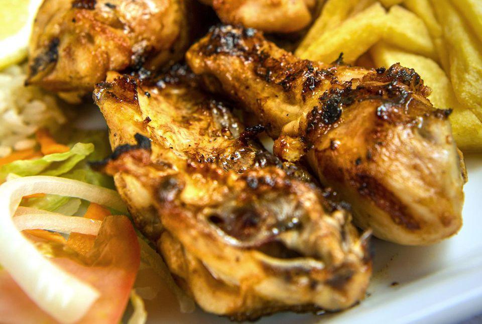 Chicken cooked in piri-piri spice