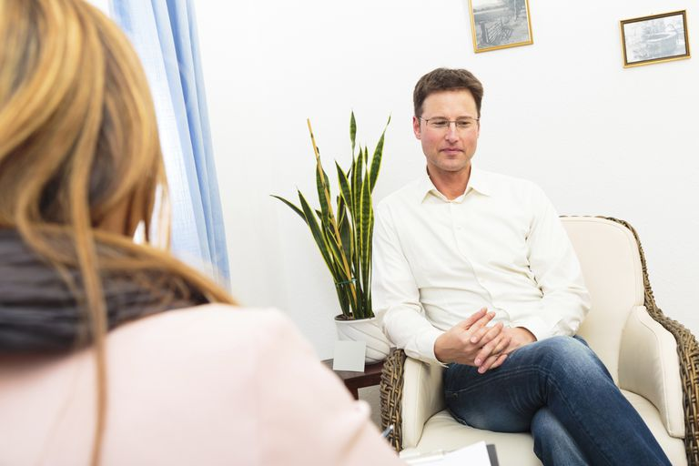Man seeing a psychotherapist
