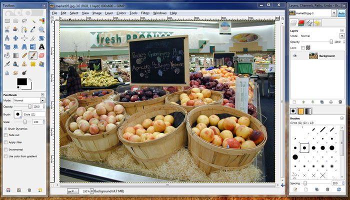 GIMP, the Gnu Image Manipulation Program, a free open source image editing application