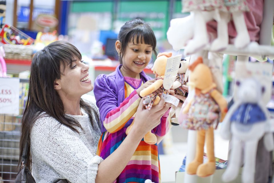 Mother and Child Shopping for Age Appropriate toys