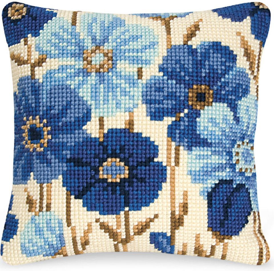 needlepoint pillow top with blue flowers