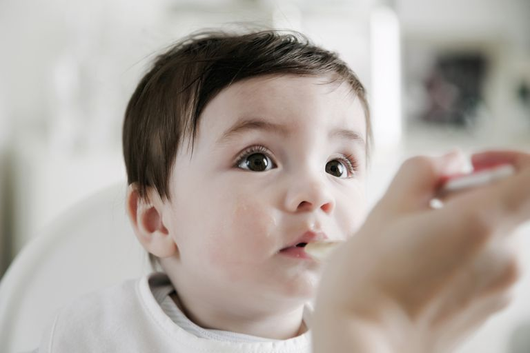 Close up of a baby being spoon fed