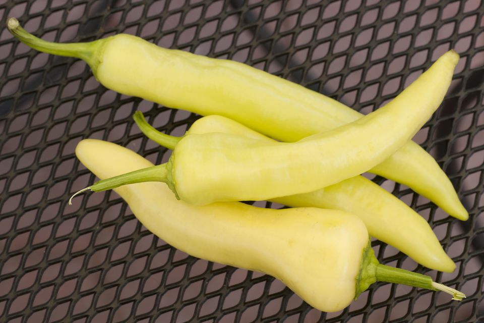 banana peppers on wrought iron table top