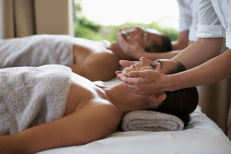 Shot of a mature couple enjoying a relaxing massage