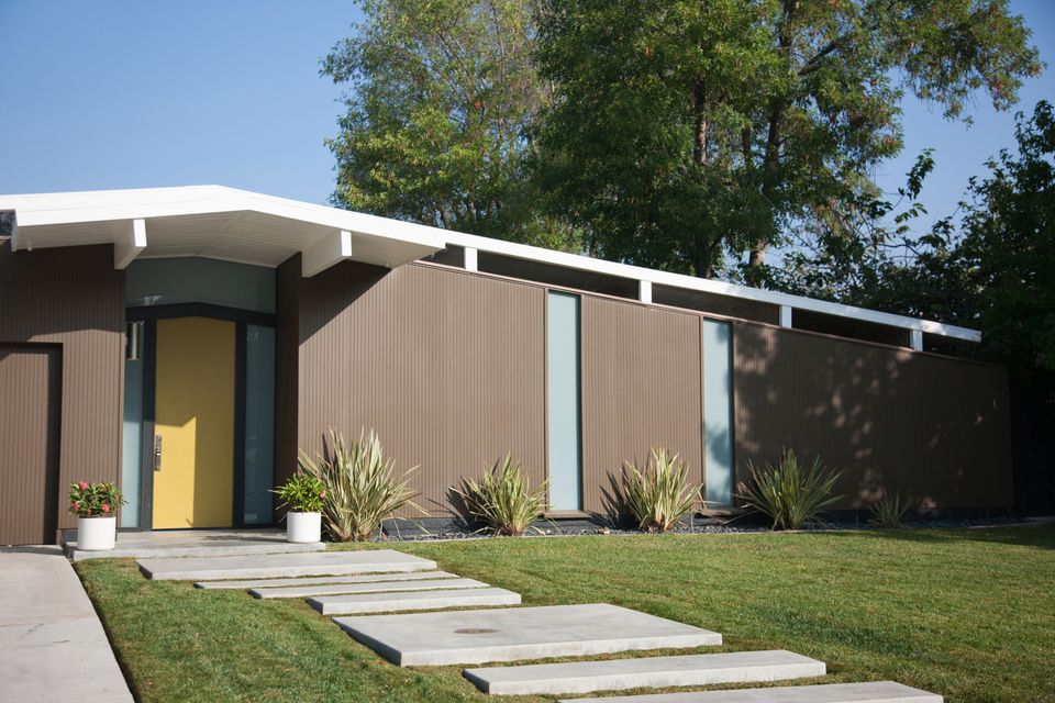 Mid-Century Modern House with Concrete Walkway 168532965