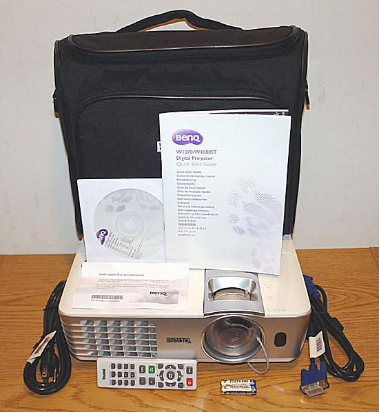 BenQ W1080ST DLP Video Projector - Front View With Accessories
