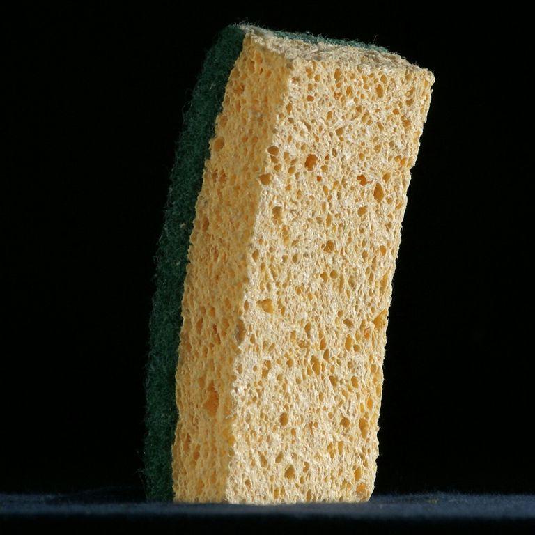 Close-Up Of Sponge Against Black Background