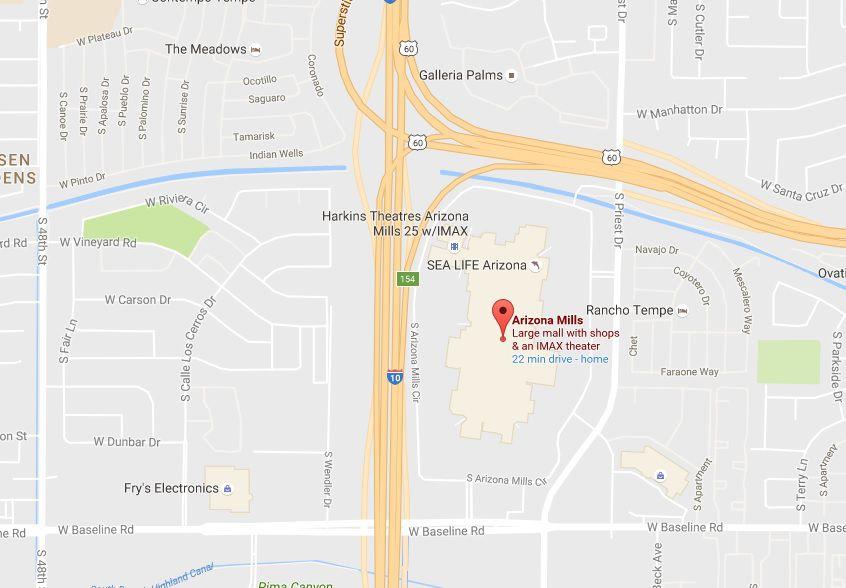Map to Arizona Mills, Sea Life Arizona, Legoland Discovery Center