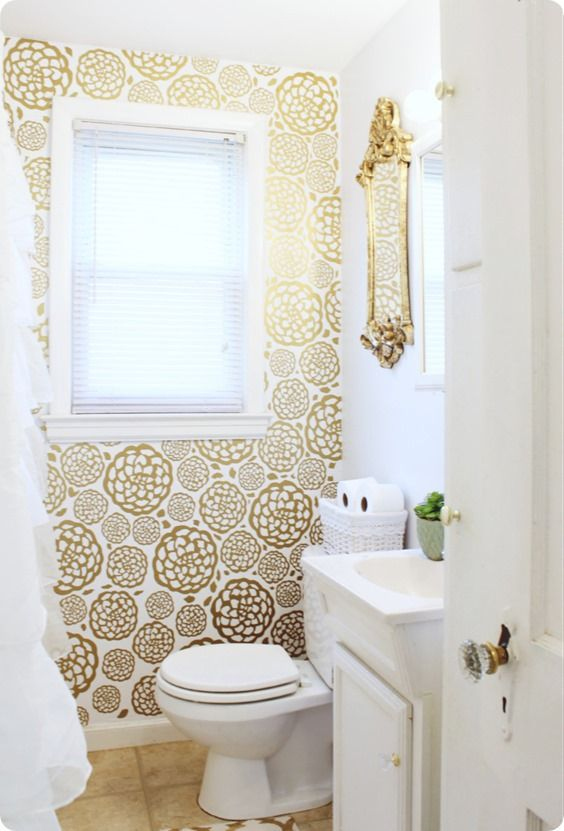 4 smart ways to use wallpaper in your bathroom for Small washroom design ideas