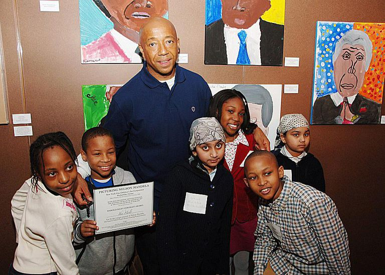 Russell Simmons with featured student artists from P.S. 11, celebrating Black History Month.