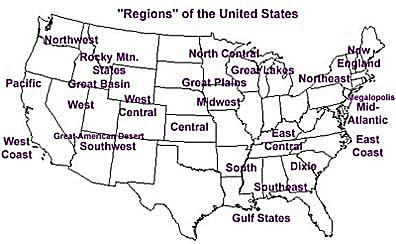 Regions Of The United States - West us region map