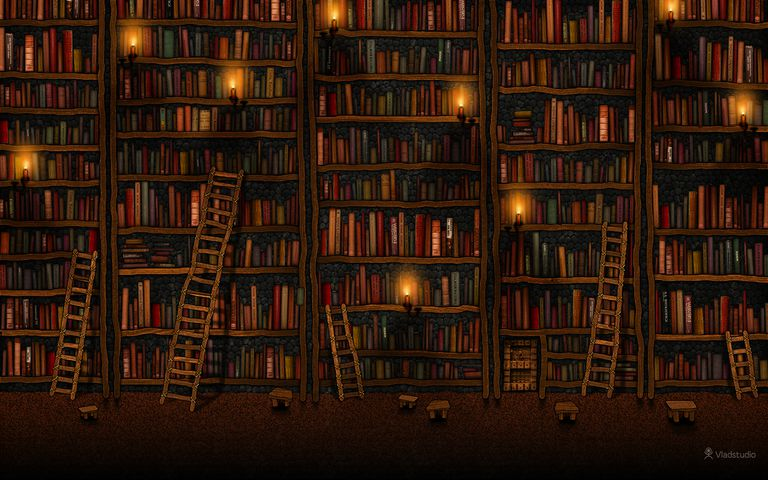 A computer wallpaper with books and library ladders