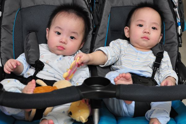 Twin baby boys sitting in buggy.